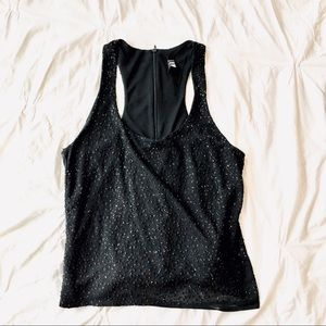 Vintage Laundry Shelli Segal black glitter tank